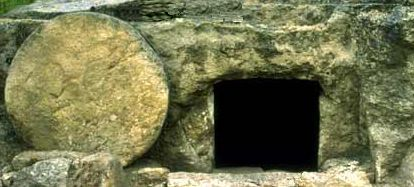 Example of an empty tomb with a massive stone door.