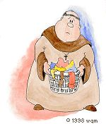 Friar Tuck dealing with colored laundry. Copyright 1998 William Meisheid