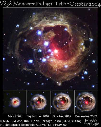 Light echoes over time from Monocerotis